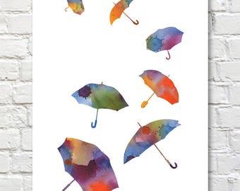 Umbrellas Art Print - Abstract Umbrella Watercolor Painting - Wall Decor