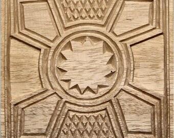 Oshiwa Carved Wood Printing Stamp, Graphic Design, 6.5''x 6.5'', Item 2-1-77
