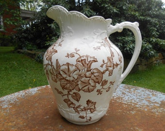 Antique White Ironstone Brown Transferware Pitcher Morning Glory Flowers Botanical Design Large Ewer Ornate Victorian Vase Farmhouse Style