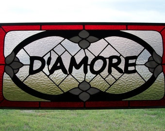 Custom Stained Glass Window Panel, Personalized Family Name Plaques, Wedding Gift, Engagement, Surname Artwork,