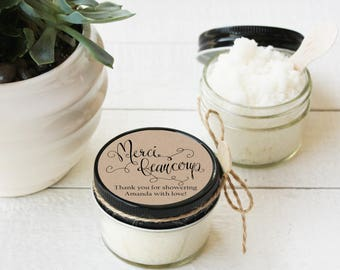 Set of 12- 4 oz - Sugar Scrub Favors - All-Natural, Vegan - Merci Beaucoup Label Design | Baby Shower Favors | French Bridal Shower Favors
