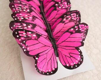 NEW ITEM! PINK Feather Butterflies 12 Monarch Bird Feather Butterflies 5 Inch Wingspan Size / Large Butterfly / Bridal Bouquet / Wedding