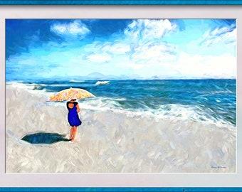 ALL BY MYSELF - Fine Art Print of Original Artwork. Solitude, Tranquility, Ocean Art, Wall Art, Colourful, Seaside, Female Art, Umbrella