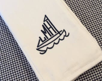 Monogrammed Sailboat Burp Cloth Embroidered Custom Baby