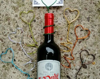 Heart table number / menu /  photo holders for wine bottles, all colours!