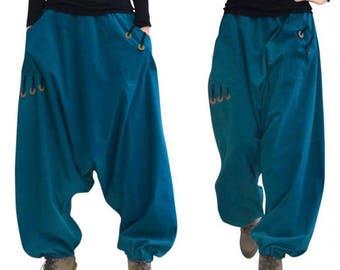 Harem pants for women cotton (M77) Antique Bronze coins