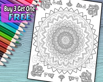 Intricate Mandala Design - Adult Coloring Book Page - Printable Instant Download