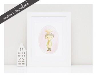 CHEF Baby Boy Print- Baby Room Decor-Printable Nursery Art-Nursery Decor-Kids Room Wall Decor-Kids Illustration-Kids Poster-Watercolor Art