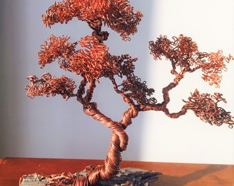Bonsai Copper Tree on Stone or Knot