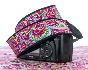 Hot Pink Paisley dSLR Camera Strap, with or without Pocket, Psychedelic, Camera neck Strap, Canon or Nikon Strap,SLR, 057