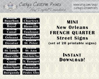 MINI New Orleans French Quarter Printable Signs Set of 20