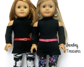 18 inch doll clothes made to fit like american girl doll clothes black cold shoulder turtleneck tunic aztec floral or purple/gray leggings