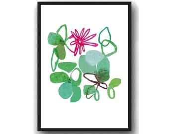 Modern Flower Art Print, Flower Wall Art, Kitchen Art,  floral Watercolor green , Mother's Day gift for her