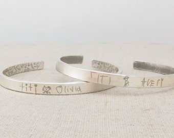 Kids Drawing - Mom Jewelry - Personalized Gift Idea  - Your Childs Art Jewelry - Custom Handwriting -  Personalized Bracelet