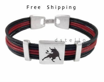 Mens leather bracelet, Custom mens leather bracelet, Bull bracelet, Taurus jewelry, Mens bracelet, Anniversary gifts - Made in Spain