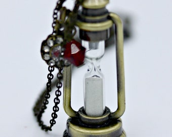 Mr. Sandman Sand Timer Hour Glass Brass Lantern Necklace Pendant on 16 Inch Chain