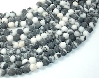 Matte Zebra Jasper Beads, 6mm (6.5 mm) Round Beads, 15.5 Inch, Full strand, Approx 65 beads, Hole 1 mm, A quality (445054007)