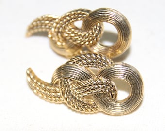 Vintage Gold Tone Knotted Pierced Earrings