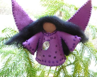 Purple Angel, Angels of Color, Waldorf Inspired, Wool Felt Standing Angel, One of a Kind, Felt Angel