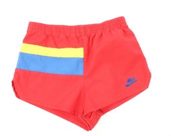 80s Nike Blue Tag Shorts Boys Size Medium Red Yellow Blue Running Track Vintage 1980s