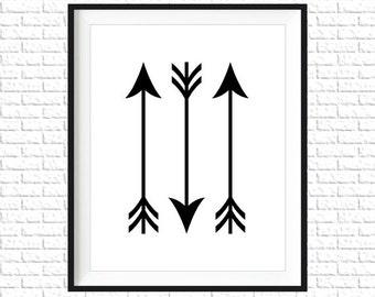 Black Arrows Print | 8x10 Printable Art Print | Tribal Wall Art | Home Printable | Arrow Subway Art | Instant Download Printable