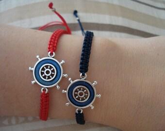 1+1, Ship wheel bracelet, Blue wheel bracelet, Couples bracelet, Cruise vacation, Sailing bracelet, Nautical jewelry, Sailor gift, Beach.