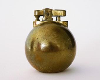 Vintage Round Brass Table Lighter / Tiki Austrian Ball Lighter
