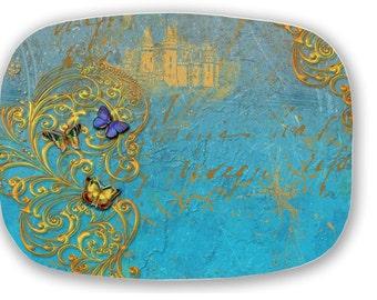 Fairy Tale Castle Gold Butterflies Scrolls Serving Platter Tray !00% Made in USA