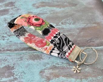 Fabric Keychain, Key Fob Wristlet, Key Fob Keychain, Key Wrist Strap, Stocking Stuffer, Gift Under 10, Gift for Her, Key Lanyard