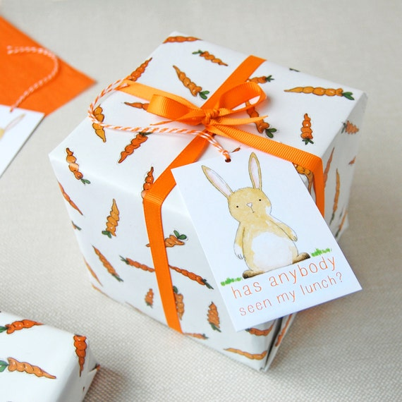 Carrots and rabbits wrapping paper set bunny gift wrap quirky negle Choice Image