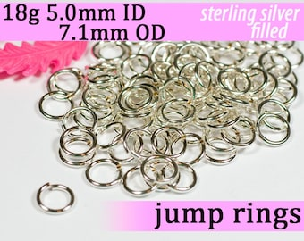 18g 5.0mm ID 7.1mm OD silver filled jump rings -- 18g5.00 jumprings links silverfilled silverfill