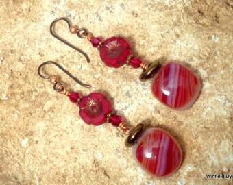 Sparkling Red Czech Glass Flower Fused Glass Earrings