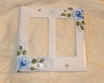 Shabby Cottage Chic Hand Painted Blue Rose Double Rocker Style Light Switch Cover