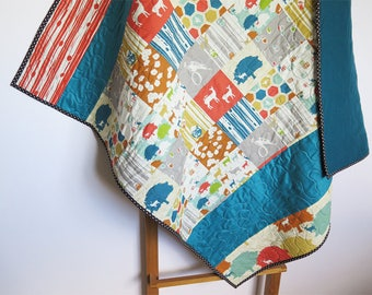 Baby quilt, woodland quilt, baby quilt, pachwork throw, baby blanket, red blue