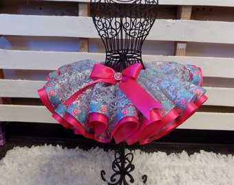 Ribbon Trimmed tutu Skirt Elegant blue lace and pink ribbon trimmed tutu skirt, wedding tutu, flower girl, birthday girl tutu, newborn tutu