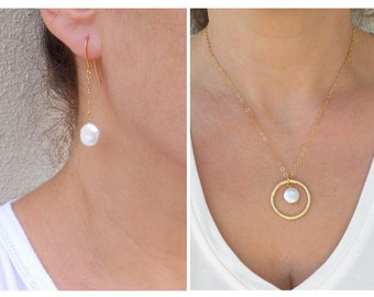 Coin pearl necklace, Pearl jewelry set, Coin pearl earrings