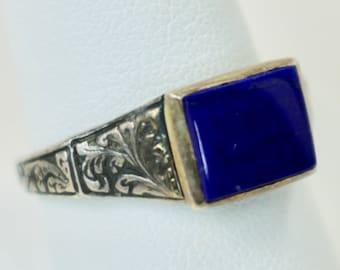Vintage Mens Ring 925 Sterling Silver Lapis Lazuli Monticello Reproduction MFA Boston Sz 10