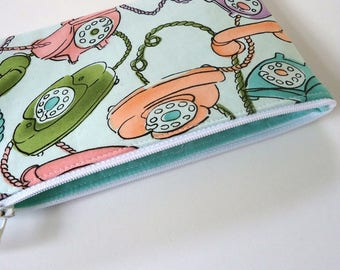 Coin purse Zipper pouch Card wallet with Retro telephones, choose your size, Mother's day gift Girlfriend Teacher Graduate for her under 15