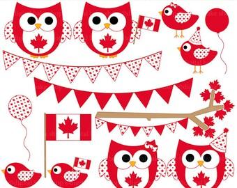 canada day clipart owls birds canadian clip art digital - Oh Canada Hoots and Tweets Digital Clip Art - BUY 2 GET 2 FREE