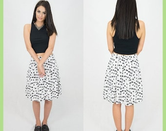 Birds on a branch Print Skirt // Black and White // Knee-length