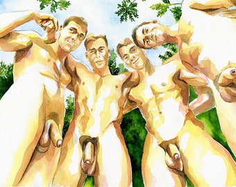 """PRINT Original Art Work Watercolor Painting Gay Male Nude """"In a forest"""""""