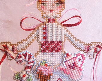 Brooke's Books Pinky, The Peppermint Angel Ornament INSTANT DOWNLOAD Cross Stitch Chart