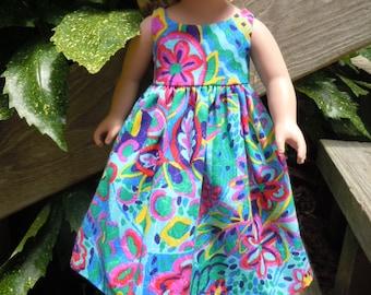 Hawaiian print dress fits like American Girl doll clothes, Ag doll clothes, 18 inch doll clothes, doll dress