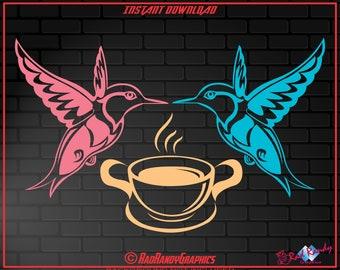 Hummingbird, Coffee, Design Element, Cut Files, EPS, SVG, PNG, Vector