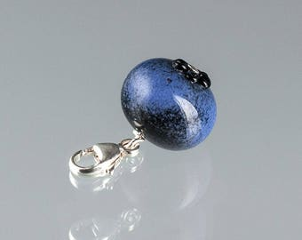 Glass Blueberry Charm lampwork bead jewelry hand blown glass art birthday gift, Mother's Day gift for cook, chef, gardener