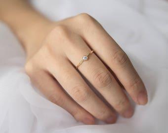0.10CT Simple Diamond Ring, 0.10CT Diamond Ring, Diamond Engagement Ring, 14k Solid Gold Diamond Ring, Birthstone Ring, Dainty Diamond Ring