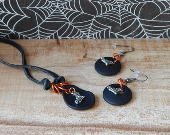 Halloween Jewelry, Black and Orange, Halloween Necklace Earrings, Jewelry Set, Black Glass Jewelry, Halloween Accessory