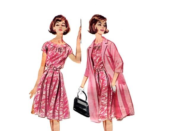 1960er Jahre Kleid und Mantel Muster Blouson Falte Rock