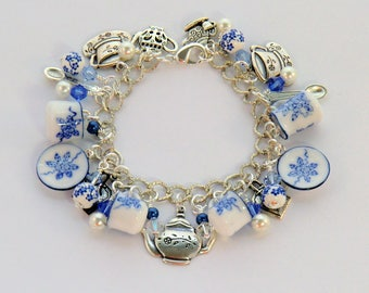 SALE! Delicate blue and white china charm tea bracelet, teapot, cup, teabag, spoon, creamer, dish cha cha bracelet swarovski pearl tea party