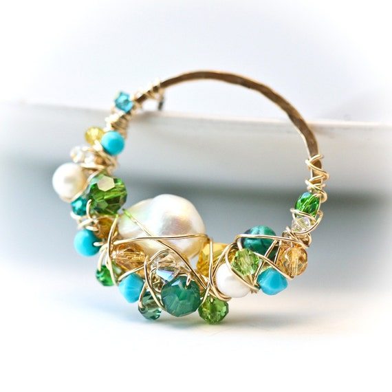 Freeform Wire Wrapped Brass Lariat - freshwater pearl, turquoise unique ooak, gold